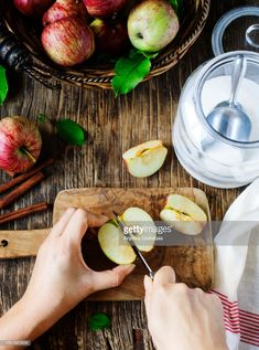 View top-quality stock photos of Woman Cutting Fresh Apples. Find premium, high-resolution stock photography at Getty Images. Sarah Wilson, Red Apple, Apple Pie, Fresh Apples, Nutrition, Baking, Vegetables, Voici, Woman