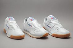 Reebok White/Gum collection is three classic silhouettes taking on a time-honoured colourway. The collection features some of Reebok's most popular styles: the Classic Leather, Workout Plus and the Ex-O-Fit. Each sneaker has a crispy white perforated …