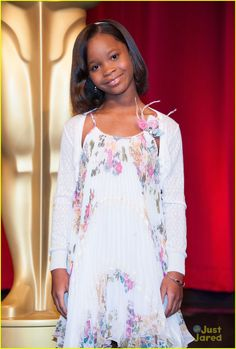 Quvenzhané Wallis looks as pretty as ever wearing the sweetest smile and the cutest Val Max dress out there.