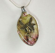 Fairy Spoon Necklace with Gold Faerie, 3D Pink Flowers & Grunge Background