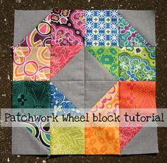 #FreeQuiltingPattern - Check out this great free Patchwork Wheel Block Tutorial! Click the image to learn more about the block and to get the free instant download! #quilting #pattern
