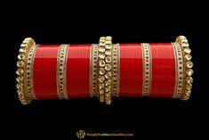 Red Color Kundan/Jerkan Wedding Bridal Chura By Punjabi