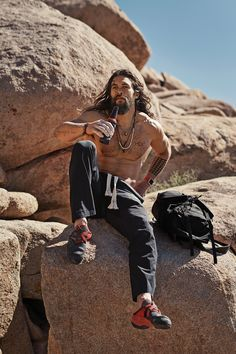 """When most of us go camping, we bring creature comforts with us. This guy's more of a purist. """"No technology! That's the whole point,"""" Momoa says. """"I'll tell you the technology I travel with: a really good Yeti cooler and lots of ice. And Guinness."""""""