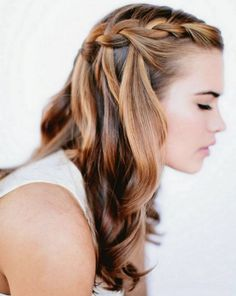 Прически с косами на выпускной - французский водопад ::: onelady.ru ::: #hair #hairs #hairstyle #hairstyles