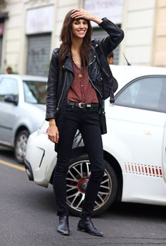 Ruby Aldridge and her moto #offduty in Milan. #PhilOh