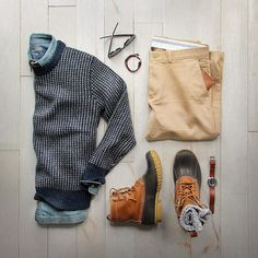thepacman82 via menstylica: Expected rain  ended up with sun #notcomplaining  Sweater/Shirt/Boots: @llbean  Chinos: @jcrew  Socks: @mrgraysocks via @toddsnyderny  Watch/Bracelet: @miansai  Wallet: @bisonmade  Glasses: @rayban