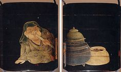 Case (Inrô) with Design of Man Blowing on a Brazier to Make Tea  18th–19th century   Lacquer, roiro, gold and coloured togidashi; Interior: nashiji and fundame