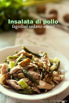Insalata di pollo ,fagiolini,sedano e noci Salad Recipes, Healthy Recipes, Salty Foods, Everyday Food, Cooking Light, Light Recipes, Summer Recipes, Food Inspiration, Italian Recipes