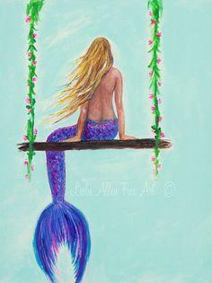 Mermaid Painting Mermaid Tail Mermaid Ocean by LeslieAllenFineArt