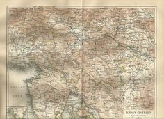 1888 KRAIN ISTRIEN Original Alte Landkarte Karte Antique Map Lithographie