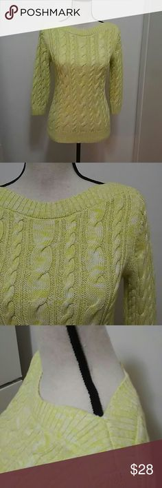 BOGO Lands End Yellow Cable Knit Sweater Comfy sweater! Yarn is partially yellow, partially white. It reminds me of buttered popcorn. Cable knit pattern is in perfect condition. 3 golden buttons in the back. Super flattering boat neck. 3/4 sleeves. The perfect spring sweater! Lands' End Sweaters Crew & Scoop Necks