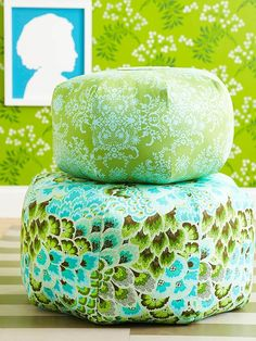 Perfect Pouf: Rethink the definition of casual seating by stitching a stack of floor cushions. Our floor poufs are made from a pretty pattern by Amy Butler via amazon.com, or you can download a free pattern from Better Homes and Gardens at BHG.com/pouf.