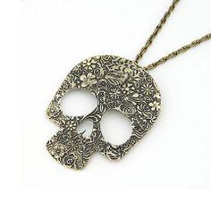 Skylar Floral Skull Necklace – Milky Moon
