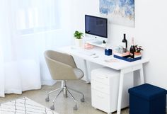 Office goals x Poppin. Bedroom Office, Office Decor, Home Office, 3 Drawer File Cabinet, Filing Cabinet, Desk For Two, Win A House, Study Areas, Home Desk