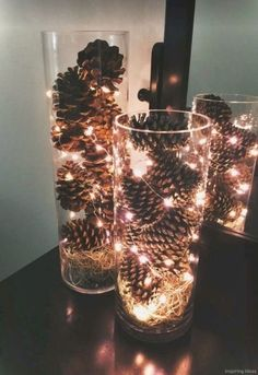 Weihnachtsdeko basteln mit Tannenzapfen – Wundervolle DIY Bastelideen Christmas decorations tinker with pine cones – DIY craft ideas – pine cones decoration fairy lights Christmas Pine Cones, Diy Christmas Lights, Diy Christmas Decorations Easy, Christmas Crafts, Cheap Christmas, Homemade Christmas, Christmas Cookies, Cozy Christmas, Thanksgiving Crafts