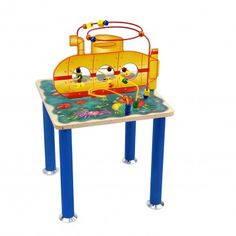 Your child can dive into fun with this cool under sea themed bead maze. The Submarine Rollercoaster Table from Anatex offers an exciting and educational trip on a whimsical yellow submarine! Children guide the beads along the wires and through the submarine, discovering colorful reefs, exotic fish, and sea creatures along the way. This wonderful activity table that will keep kids entertained and stimulate every child's imagination! Great for the home, schools, and waiting rooms.