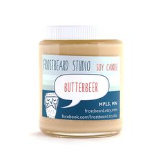 Butterbeer -- Book Lovers' Soy Candle.  Inspired by the wizardly drink and ideal for fans of the Harry Potter series.  The scent is straight out of the books and super delectable.  Butterscotch overtones with hints of crème brûlée and butter rum.
