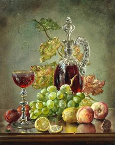 Cecil Kennedy (British, Still life of fruit, vine leaves and a glass ewer Painting Still Life, Still Life Art, Vj Art, Still Life Images, Wine Painting, Vine Leaves, Pretty Wallpapers, Double Exposure, Oil On Canvas