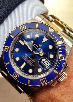 My brother's watch, just beautiful!♡Rolex Submariner 116613 Two Tone Blue Ceramic