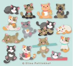 """Eline Pellinkhof"" created a cat version for the serie ""Collectables"" for the brand ""Marianne Design"". here you can see some of the kitty cats you can create thanks to her die set. Paper Punch Art, Craft Projects, Sewing Projects, Marianne Design Cards, Dog Cards, Cat Crafts, Animal Cards, Felt Toys, Felt Animals"