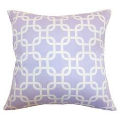 "Cotton throw pillow with a linked trellis motif.     Product: PillowConstruction Material: Cotton, polyester and 95/5 downColor: WisteriaFeatures:  Hidden zipper closure for easy cover removal and cleaningAll four sides have a clean knife-edge finishInsert includedCover and insert made in the USA Dimensions: 18"" x 18""Cleaning and Care: Spot clean"