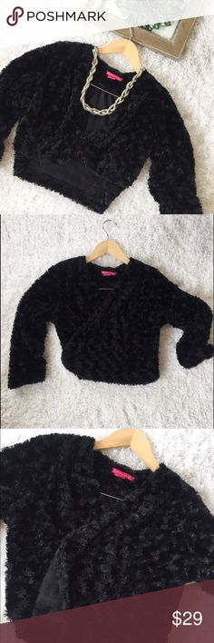 """Sunny Leigh Black Faux Fur Shrug Cozy Bolero in black perfect for this coming holiday or any girls night out. Three quarter sleeve. Shoulder length 18"""" ,sleeve 19"""" and length of 17"""". Size small but can fit medium Unworn. Sunny Leigh Jackets & Coats Blazers"""