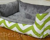 """One-Piece 24"""" x 19""""  - Dog Bed - Cat Bed - Chartreuse & White with Minky Fleece"""