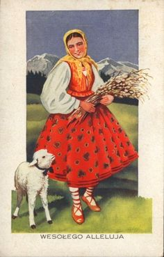 Old Easter Post Card — Wesołego Alleluja, 1938 ilustrations. Old Easter Post Car Easter Lamb, Easter Eggs, Thanks Words, Wedding Flower Decorations, Flowers Decoration, Wedding Flowers, Polish Folk Art, Green Pictures, Couple