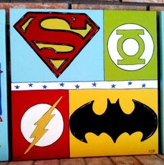Collage Of Superheros Painted On A Canvas For My Nephew