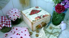 Strawberry shabby chic box by passionart77 on Etsy, $27.00