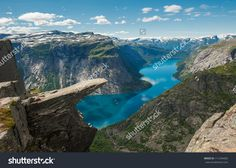 Trolltunga, Troll'S Tongue Rock Above Lake Ringedalsvatnet, Norway Стоковые фотографии 111244403 : Shutterstock Lofoten, Places In Europe, Places To Visit, Troll, Bryce Canyon, Formations Rocheuses, Hotels In France, Plitvice Lakes National Park, Epic Photos