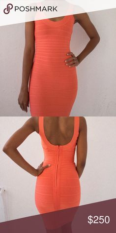 Herve Leger Peach Bandage Wrap Dress Size XS Brand New, No signs of wear what so ever. Was a graduation gift but I never got to wear it Herve Leger Dresses Midi