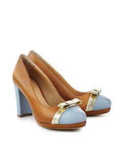 ShoeVita Damen Leder Plateau Pumps Cognac & Hellblau Python Schlange Gold Größe 35 - 43