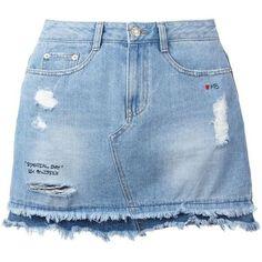 Steve J & Yoni P denim mini skirt (1.210 RON) ❤ liked on Polyvore featuring skirts, mini skirts, bottoms, saias, blue, denim miniskirt, short skirts, mini skirt, blue skirt and short denim skirts