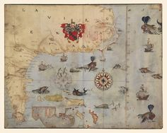 Antique manuscript map of SE North America in 1585 by John White and Thomas Harriot