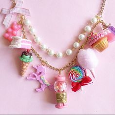 Pink Candy Shop Couture Charm Statement Necklace by Fatally Feminine Designs