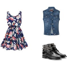 vestido floral by dany222 on Polyvore featuring moda, 7 For All Mankind and Yves Saint Laurent