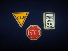 Traffic sign cookies for the car wash birthday cake