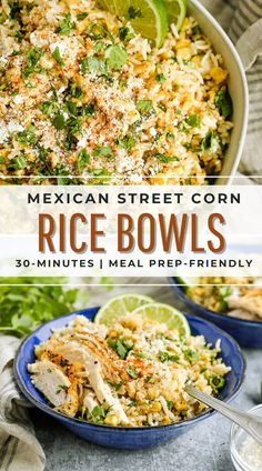 This 30-minute recipe is a meal prepper's dream! Serve it as a side dish or main meal with your favorite protein (like rotisserie chicken) and enjoy all week #ad #mexicanstreetcorn #ricebowls #easyricerecipes Rice Recipes, Side Dish Recipes, Lunch Recipes, Healthy Dinner Recipes, Delicious Recipes, Mexican Food Recipes, Real Food Recipes, Recipies, Mexican Side Dishes