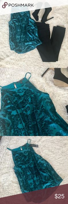 "NWT Teal Velvet Halter New Teal/Turquoise Halter top. Top to bottom: 25"". Open to ALL OFFERS Cable & Gauge Tops Blouses"