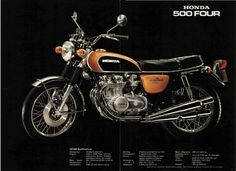 HONDA 1972 6 page Motorcycle Brochure NCS. 1972 HONDA Four. 6 page brochure shows first model. Womens Motorcycle Helmets, Bagger Motorcycle, Motorcycle Style, Trail Motorcycle, Motorcycle Girls, Vintage Honda Motorcycles, Honda Bikes, Honda Auto, Custom Motorcycles