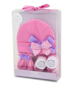 Loving this Pink Polka Dot Beanie Set - Infant on #zulily! #zulilyfinds