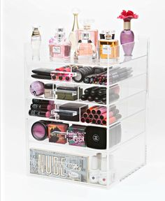 Acrylic Cosmetic/Makeup Organizer 6 Tier Tall with Acrylic Handle