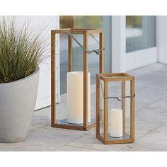 Crosby Large Teak Wood Lantern   Crate and Barrel