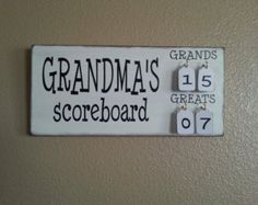 Grandmas Scoreboard with Grands and Greats tally tags grandparent, mother, father, gift pregnancy reveal by IfOurWallsCouldTalk on Etsy Homemade Christmas Gifts, Xmas Gifts, Homemade Gifts, Craft Gifts, Cute Gifts, Christmas Diy, Christmas Tables, Nordic Christmas, Modern Christmas