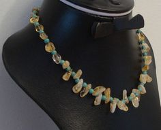 Citrine necklace with Turquoise round beads - Citrine jewelry Silver Necklaces, Beaded Necklace, Egyptian Jewelry, Anklets, Round Beads, Natural Gemstones, Birthstones, Headbands, Turquoise Necklace