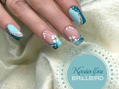 French Nails Square Long – nageldesign hellblau ideen fullcover Many women prefer to visit the hairdresser … Elegant Nail Designs, Gel Nail Designs, Green Nails, Blue Nails, French Nails, Turquoise Nail Designs, Nagellack Design, Nails Now, Nail Art Techniques
