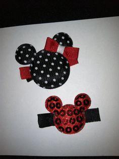 Disney Minnie Mouse Hair Bow Set by poshtotbows on Etsy, $4.00