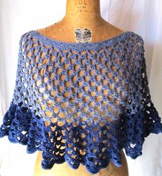 Womens crochet lace top, shades of blue, spring fashion, size 12, ooak, ready to ship. via Etsy.