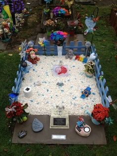 Photo: Uploaded from the Photobucket iPhone App. This Photo was uploaded by vickyannwilliams Grave Flowers, Cemetery Flowers, Graveside Decorations, Birthday Decorations, Christmas Decorations, Holiday Decor, Pet Grave Markers, Cemetery Decorations, Pet Cemetery